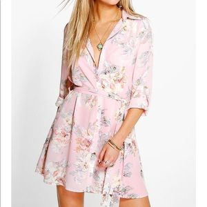 boohoo pink floral belted dress (long shirt)